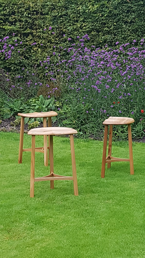 Elm three leg stools