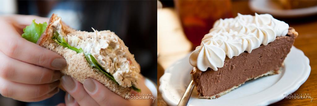 My Just Desserts' Chicken Salad Sandwich (left) and the Hazelnut Silk Pie (right)