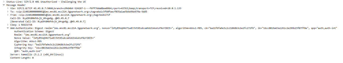 """Wireshark trace showing a """"401 Unauthorized"""" Response to an IMS REGISTER request, using the AKAv1-MD5 Algorithm"""