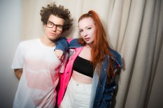 ASTR (Zoe Silverman & Adam Pallin) backstage portrait after their performance at the Annie O Music Series in the Penthouse at The Standard, East Village on July 30, 2015