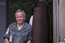 Bill Morse in front of the Landmine Museum