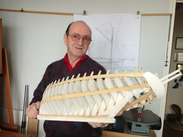 Jean Claude Rosso with the model of the Biche that he is working on _resize
