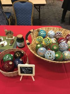crochet ornaments display