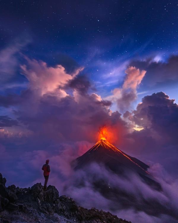 Eruption of volcano El Fuego Guatemala
