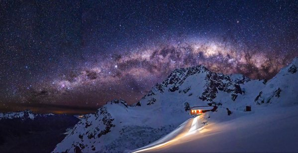 Milkyway over Mt Cook and Plateau hut New Zealand