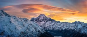 Sunrise over Mount Cook from Taken from Mount Ollivier. I love to come there in winter. The snow makes it a really interesting walk and the views on Mount cook are just priceless. New Zealand photo by Nico Babot