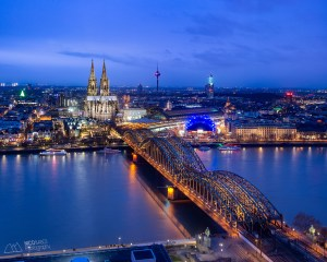 Aerial image of Koln at blue hour - Photo by Nico Babot