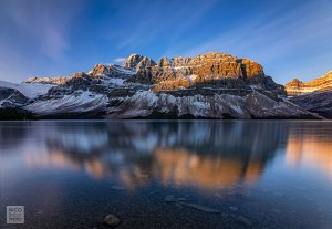 Sunrise on the Crowfoot mountain and Bow lake Canada photo by Nico Babot