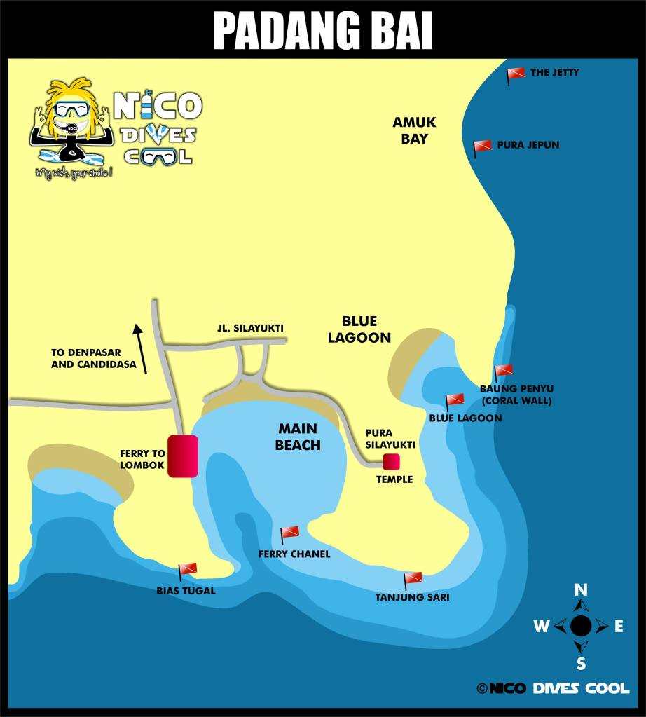 Diving Padang Bai Map Dive Sites