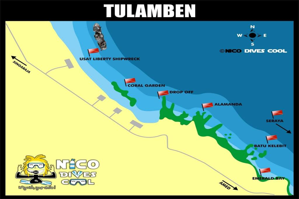 Tulamben Bali Diving Map Dive Site