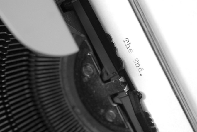 "Image: Typing ""The End"" on a Typewriter"