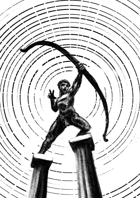 illustration hero archer ancient rome greek on columns sun