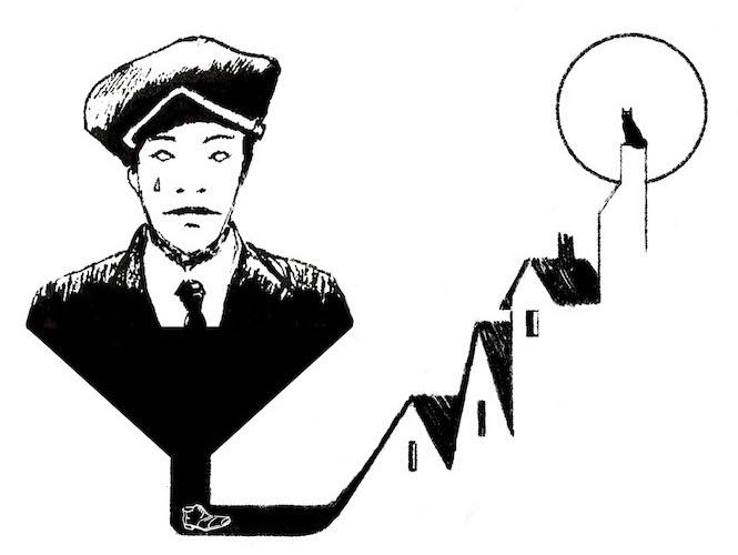 illustration young man ape piaggio cat moon village hat città invisibili
