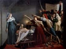 "Jean Joseph Weerts, ""L'Assassinat de Marat"" (1880). Assassin Charlotte Corday is seemingly a vitreous national servant facing the mob rule."