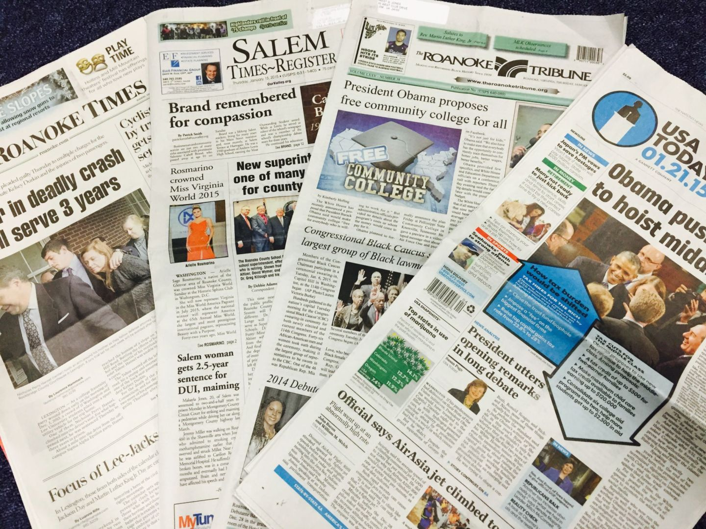 US newspapers including Roanoake Times (daily) Salem Times Register and Roanoke Tribune (weeklies) plus USA Today national daily.