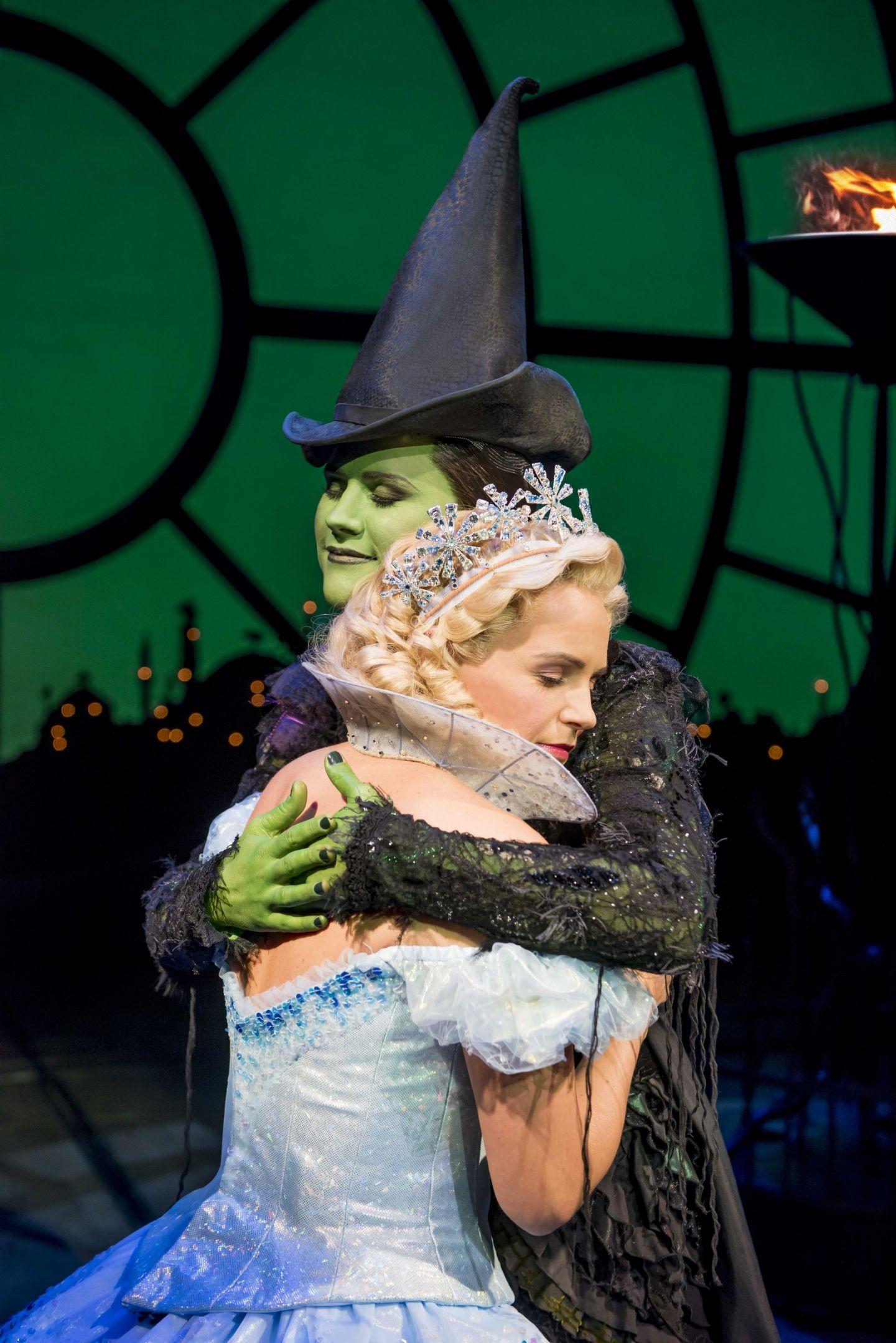 Helen Woolf as Glinda and Amy Ross as Elphaba in WICKED UK & Ireland Tour. Photo Credit Matt Crockett