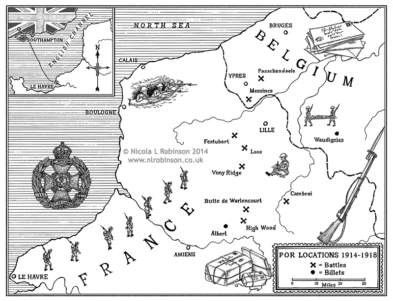 Pen and Ink map for Men of Letters by Duncan Barrett © Nicola L Robinson