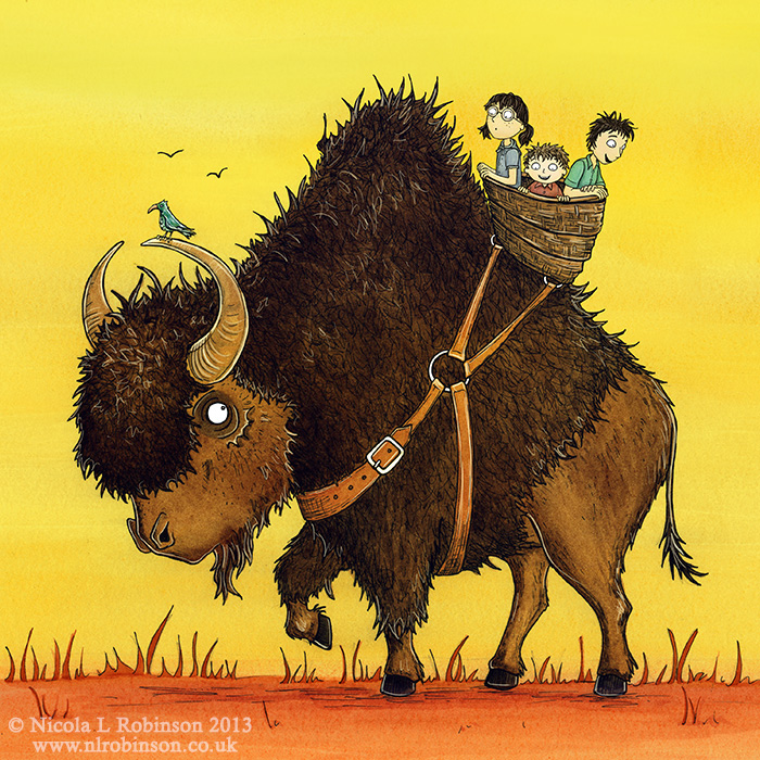 Bison riding illustration © Nicola L Robinson. All rights reserved. www.nlrobinson.co.uk