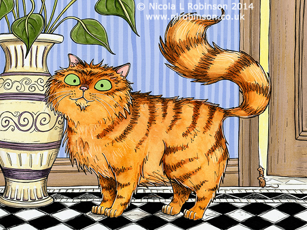 ginger cat illustration © Nicola L Robinson. All rights reserved. www.nlrobinson.co.uk