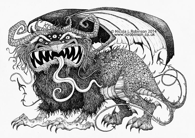 Pen and ink monster illustration © Nicola L Robinson All rights reserved www.nlrobinson.co.uk