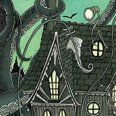 Giant Squid Gothic House Illustration © Nicola L Robinson