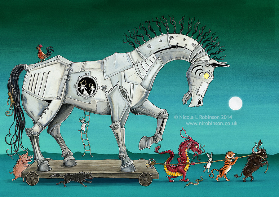 Year of the horse illustration © Nicola L Robinson. All rights reserved. www.nlrobinson.co.uk