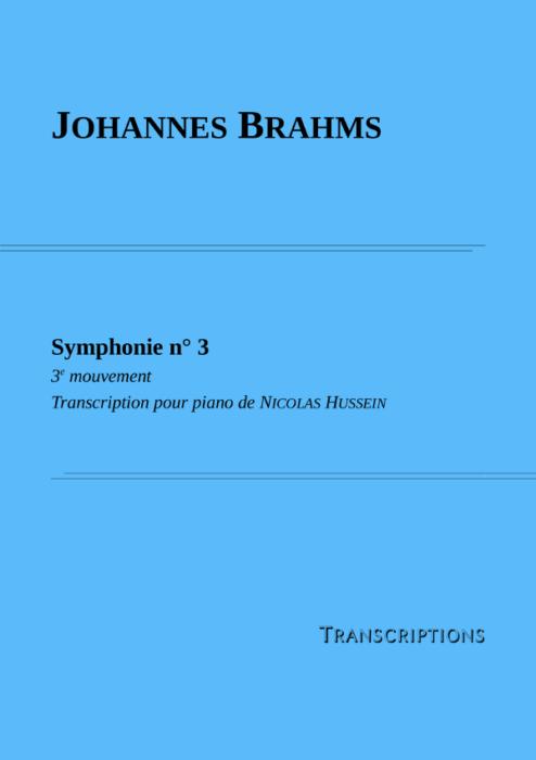 Couverture partition Brahms Symphonie n°3 3e mouvement
