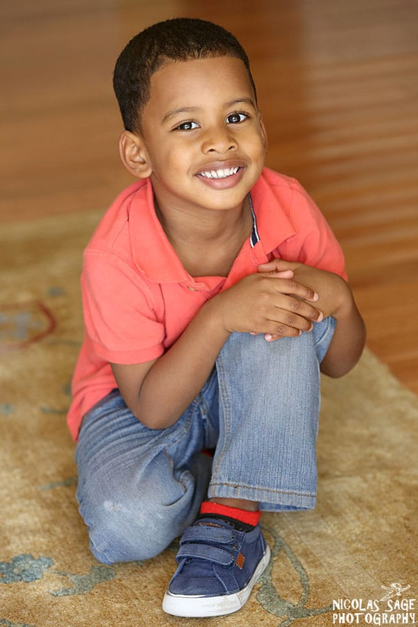 young African American boy smiling
