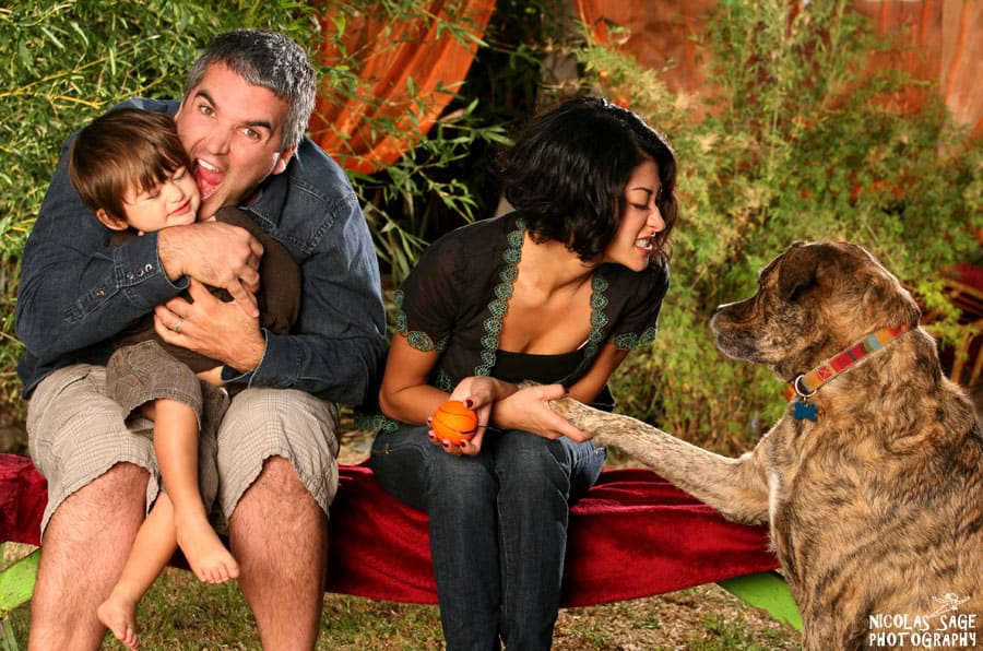 outdoor family portrait with dog in Los Angeles.