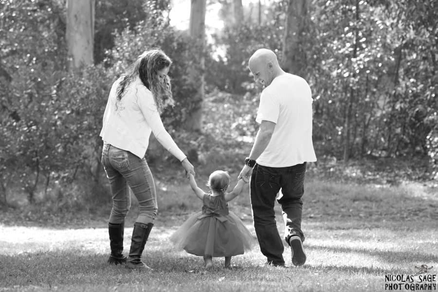 creative black and white family portrait