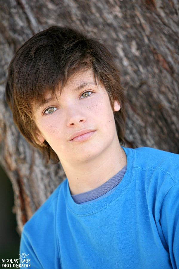 kids headshot in front of tree in Los Angeles