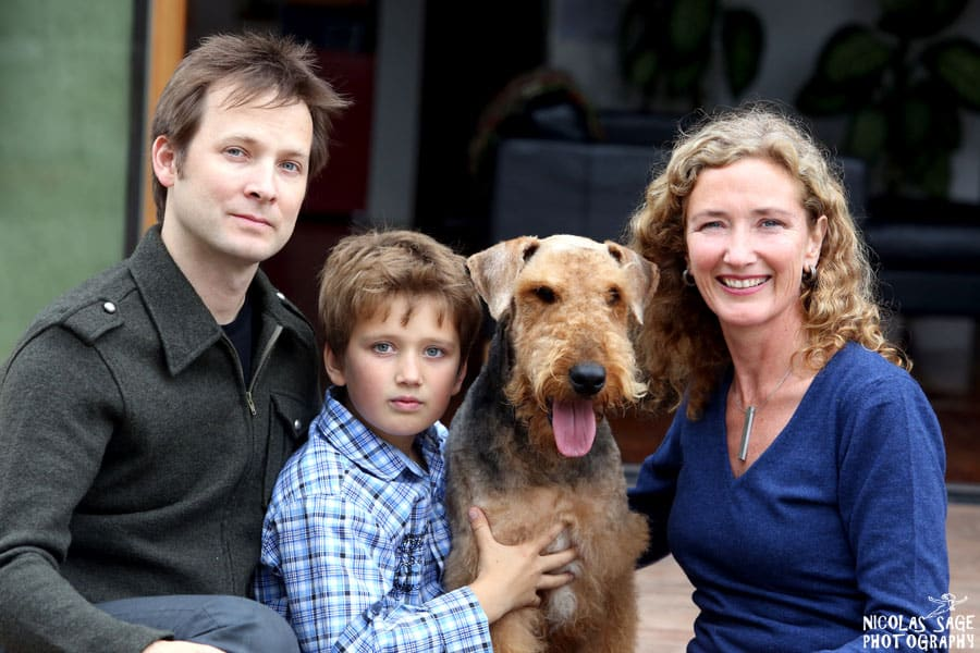 family portrait with Airedale Terrier in Venice, CA