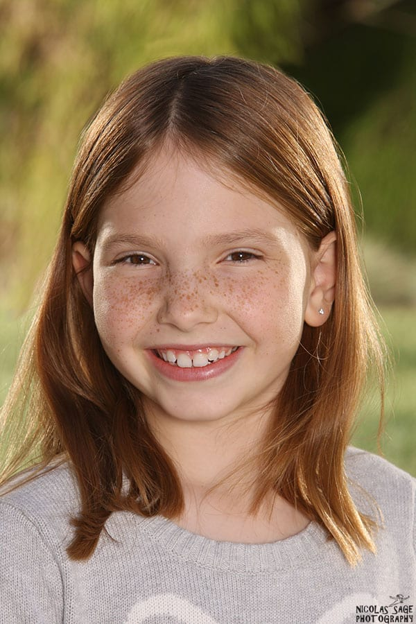 child portrait of a smiling girl in West Los Angeles