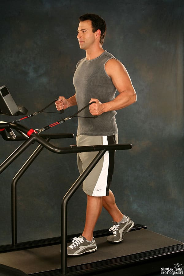 steve zim demonstrating exercise on a treadmill los angeles fitness photography by nicolas sage