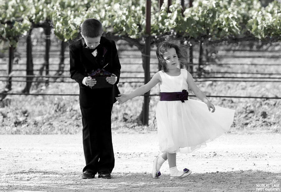 best photo of ring boy and flower girl by Nicolas Sage Photography