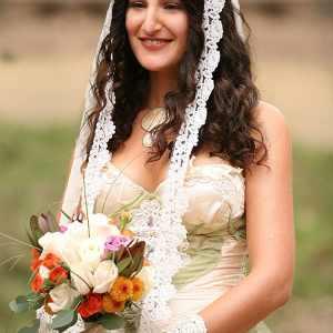 beautiful bride in bohemian wedding dress in topanga canyon