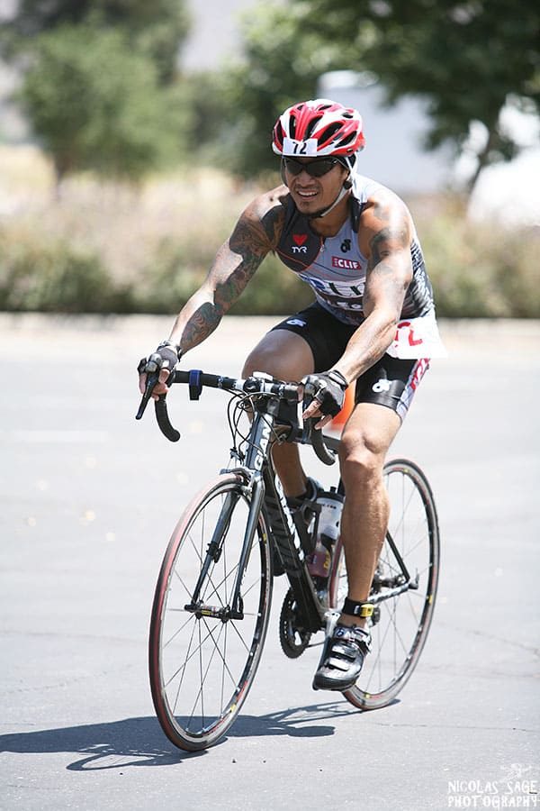 cyclist at triathlon event sports photography los angeles
