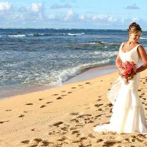bride at tunnels beach wedding in kauai