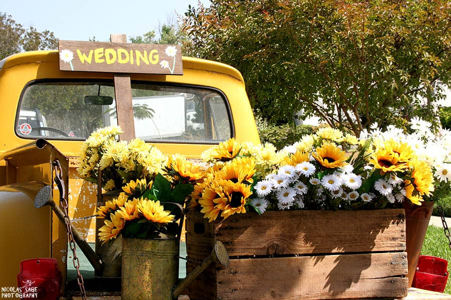 wedding details photography flowers in a truck