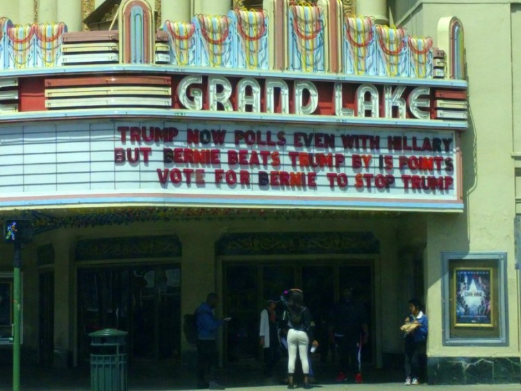 At the Grand Lake Theatre in Oakland this afternoon