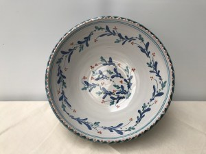 Very large bowl (a beauty!) Bluegreen, blue and coral mistletoe