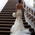 back of bride on stairs wedding ritz carlton laguna niguel