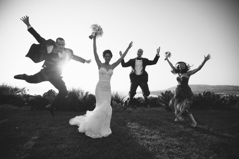 bridal party jumping wedding laguna niguel ritz carlton