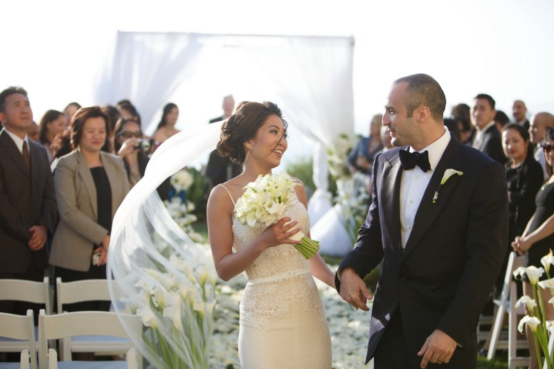 wedding ceremony bride and groom laguna niguel rtiz carlton