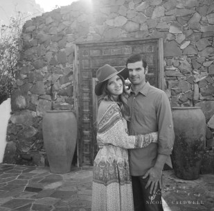 engagement session Korakia Pensione in Palm Springs by Nicole Caldwell film photographer hasselblad
