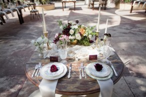 French estate wedding photographer orange details table rustic