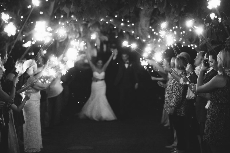 French Estate wedding photographer orange sparkler send off