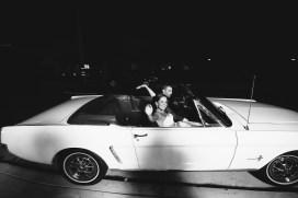 French Estate wedding photographer orange mustang get away car