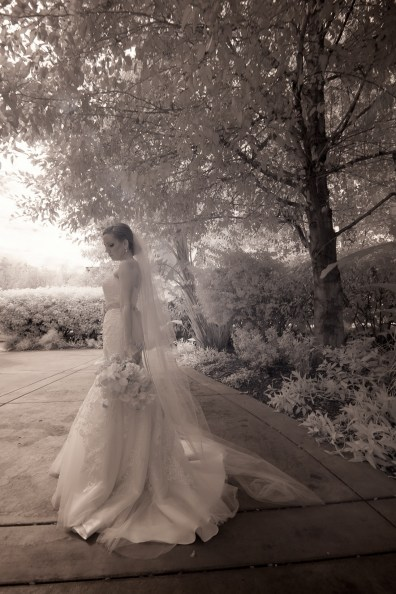 French Estate wedding photographer orange infrared photography of bride