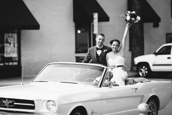 old town orange wedding photographer couple in mustang